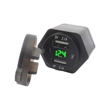 ღWawer • Cargador de Coche o Moto con voltímetro numérico ...
