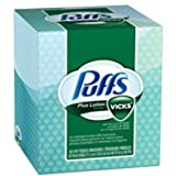 Puffs Plus Lotion With The Scent of Vicks Facial Tissues, 1 Cube, 48 Tissues per Box