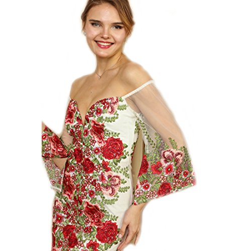 Crazy4Bling Shoulder Dress The Red Floral Short Large Embroidered Ivory Off amp; Soieblu Mini UnRwUqr8f