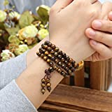 JOVIVI Tibetan Buddhist 6mm 8mm 108 Natural Tiger Eye Gemstone Beads Prayer Mala Bracelet Necklace
