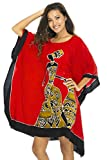 Back From Bali Womens Beach Swim Suit Cover up Caftan Poncho Short Africa Women Pot Red