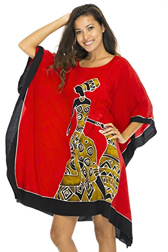 Back From Bali Womens Beach Swim Suit Cover up Caftan Poncho Short Africa Women Pot Red by Back From Bali