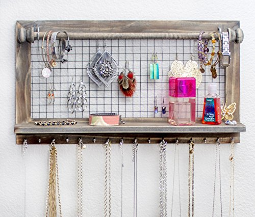 Rustic Jewelry Organizer with Bracelet Rod Wall Mounted l Wooden Wall Mount Holder for Earrings, Necklaces, Bracelets, and Many Other Accessories SoCal Buttercup ()