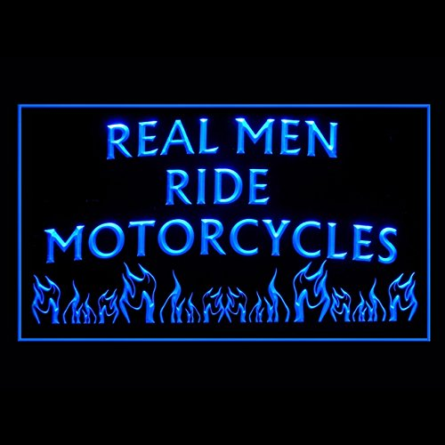 Real Man Ride Motorcycles Engine Batteries Rear Mirror LED Light Sign 200122 Color Blue (Coors Case Light)