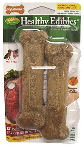 Nylabone Healthy Edibles Regular Roast Beef Flavored Twin Pack Dog Treat Bone