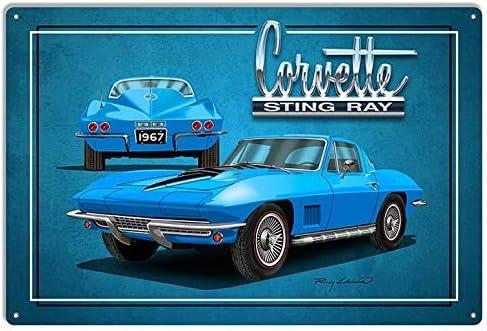 Wodiy Car Wall Signs Corvette Sting Ray Blue Garage Art Metal Sign Retro Metal Tin Sign 8X12 Inch