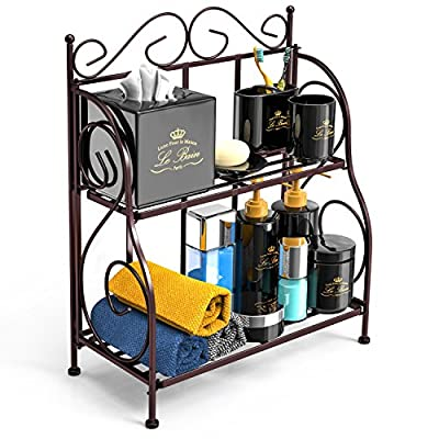 """Bathroom Countertop Organizer, F-color 2 Tier Foldable Kitchen Spice Rack Counter Storage Shelf Organizer, Bronze - Kitchen & Bathroom Organizer: This Foldable 2 Tier Storage Rack provides extra shelving and space utilization solution; helps de-cluttering space and keep things organized; Sturdy structure and doesn't take up much space Stable & Non Slip: The padded feet of this storage spice rack keeps it from moving or slipping, stands evenly and stably Easy Access: Measures of this counter rack organizer is (unfolded LWH) 11.6""""x 6.1""""x 14.4"""", perfect size to help easy access to your ordinary kitchen needed stuff like jars, bottles, herbs, spices etc. - organizers, bathroom-accessories, bathroom - 51OGeDbZdUL. SS400  -"""