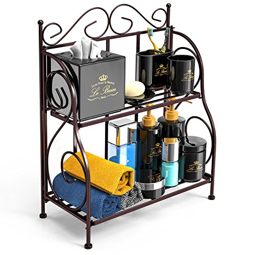 Bathroom Countertop Organizer, F-color 2 Tier Foldable Kitchen Spice Rack Counter Storage Shelf Organizer, Bronze by F-color