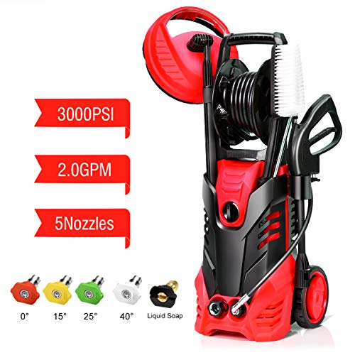 Goplus 3000PSI Electric High Pressure Washer, 2 GPM 2000W Portable Power Washer w/Deck Patio Cleaner (Red)