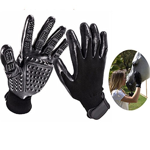 THE SAFETY ZONEY Pet Grooming Gloves Pet Hair Remover Left & Right - Hair Removal Mitt - Enhanced Five Finger Design Work as Deshedding Bathing Massaging Glove Brush De-Shedding Horses/Dogs/Cats/Live