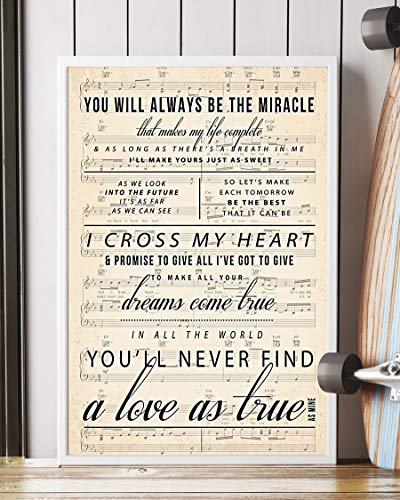 I Cross My Heart Lyrics Portrait Poster Print (12