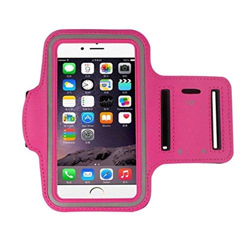 For iPhone 7Plus / 6 PLUS / 6S PLUS Armband, FreshZone Sports Running Jogging Exercise Gym Sportband (5.5-Inch) Sweat Proof / Key Pocket Holder (Hot Pink)
