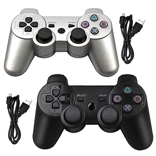 Tidoom PS3 Controller 2 Pack Wireless Bluetooth 6-Axis Gamepad Controllers Compatible for Playstation 3 Dualshock 3 Silver + Black (Dualshock Ps3 3)