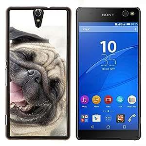 Pug Dog Happy Pet canina Sonreír- Metal de aluminio y de plástico duro Caja del teléfono - Negro - Xperia C5 E5553 E5506 / C5 Ultra