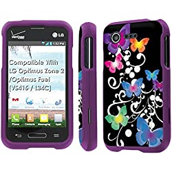 LG Optimus Zone 2 / Optimus Fuel [VS415 / L34C] Case, [NakedShield] [Purple] Total Armor Protection Case - [Butterfly Garden] for LG Optimus Zone 2 / Optimus Fuel [VS415 / L34C]