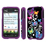 lg optimus fuel pouch - LG Optimus Zone 2 / Optimus Fuel [VS415 / L34C] Case, [NakedShield] [Purple] Total Armor Protection Case - [Butterfly Garden] for LG Optimus Zone 2 / Optimus Fuel [VS415 / L34C]