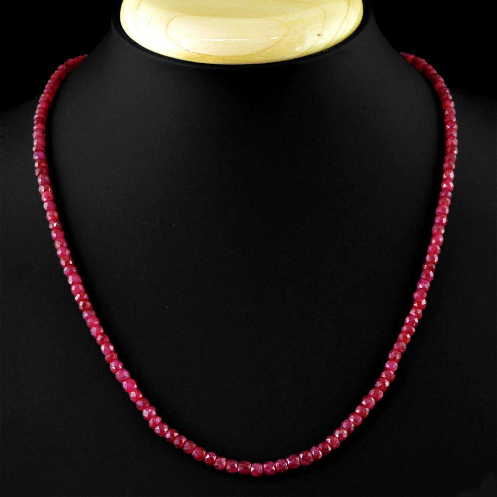 Bijoux fantaisie Bijoux et montres 8 mm NATURAL Faceted BRAZIL Red Ruby Gemstone Round Beads Necklace 18 AAA
