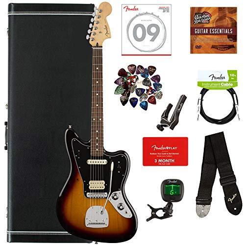 Fender Jaguar Bass Sunburst - Fender Player Jaguar, Pau Ferro - 3-Color Sunburst Bundle with Hard Case, Cable, Tuner, Strap, Strings, Picks, Capo, Fender Play Online Lessons, and Austin Bazaar Instructional DVD