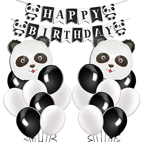 KREATWOW Panda Birthday Party Supplies Panda Birthday Banner Balloons for Kids Panda Bear Birthday Decorations