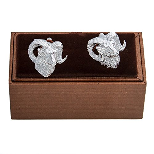MRCUFF Ram Bighorn Sheep Rams Cufflinks in Presentation Gift Box & Polishing (Bighorn Sheep Ram)