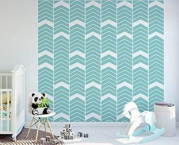 Tapeten Wanddeko Tapete 130 X 275 Cm Chevron Blauer Blaue