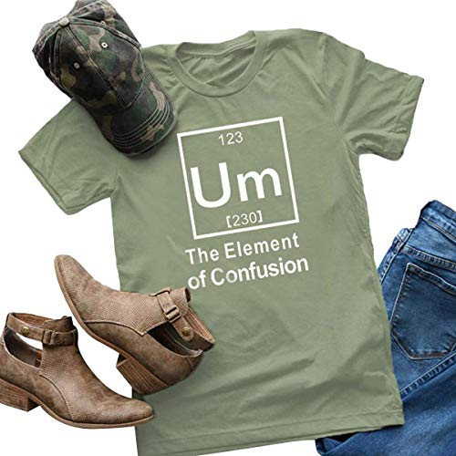 Women Plus Size Short Sleeve Um Element Confusion Tops Funny Cute Junior Teen T Shirt Army Green M ()