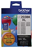 Brother Genuine High Yield Black Ink Cartridges, LC2032PKS, Replacement Black Ink Two Pack, Includes 2 Cartridges of Black Ink, Page Yield Up To 550 Pages/Cartridge, LC203