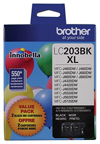 Brother Genuine High Yield Black Ink Cartridges, LC2032PKS, Replacement Black Ink Two Pack, Includes 2 Cartridges of Black Ink, Page Yield Up To 550 Pages/Cartridge, LC203 by Brother