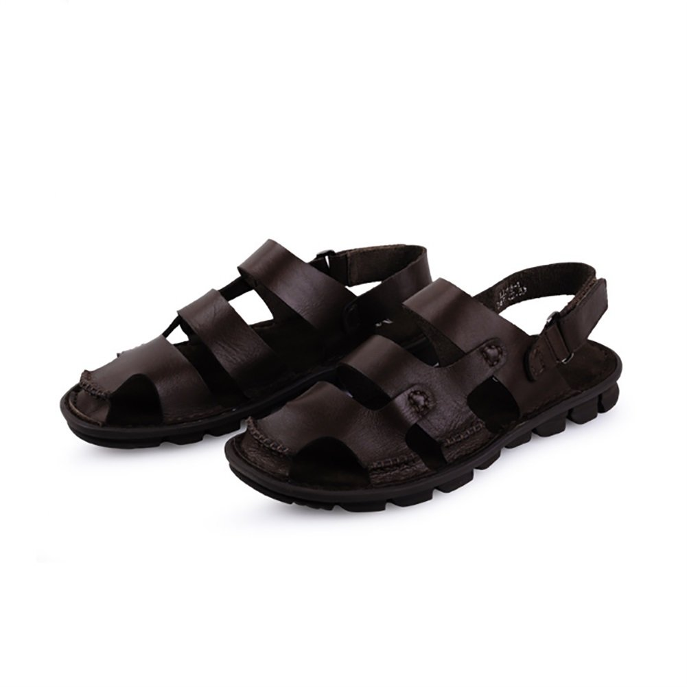 15ec0a4d5a85e ZJM- Scarpe da spiaggia uomo sandalo scarpe chiuse scarpe in pelle morbida  antisdrucciolevole realizzate per gli anziani (Colore   Marrone scuro