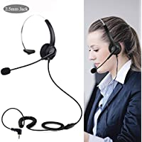 SoulBay Hands-Free Noise Cancelling Corded Headset with Microphone, Comfort with Headband, 2.5mm Jack for Panasonic Office Desk Phones & Most Cordless Phones - Monaural