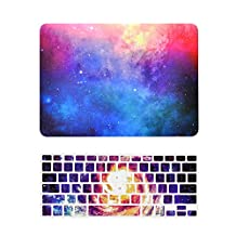 """Unik Case-2 in 1 13 Inch Galaxy Graphic Rubberized Hard Case & Silicone Skin for Macbook 13"""" Air A1369/A1466 Shell Cover-Pink"""