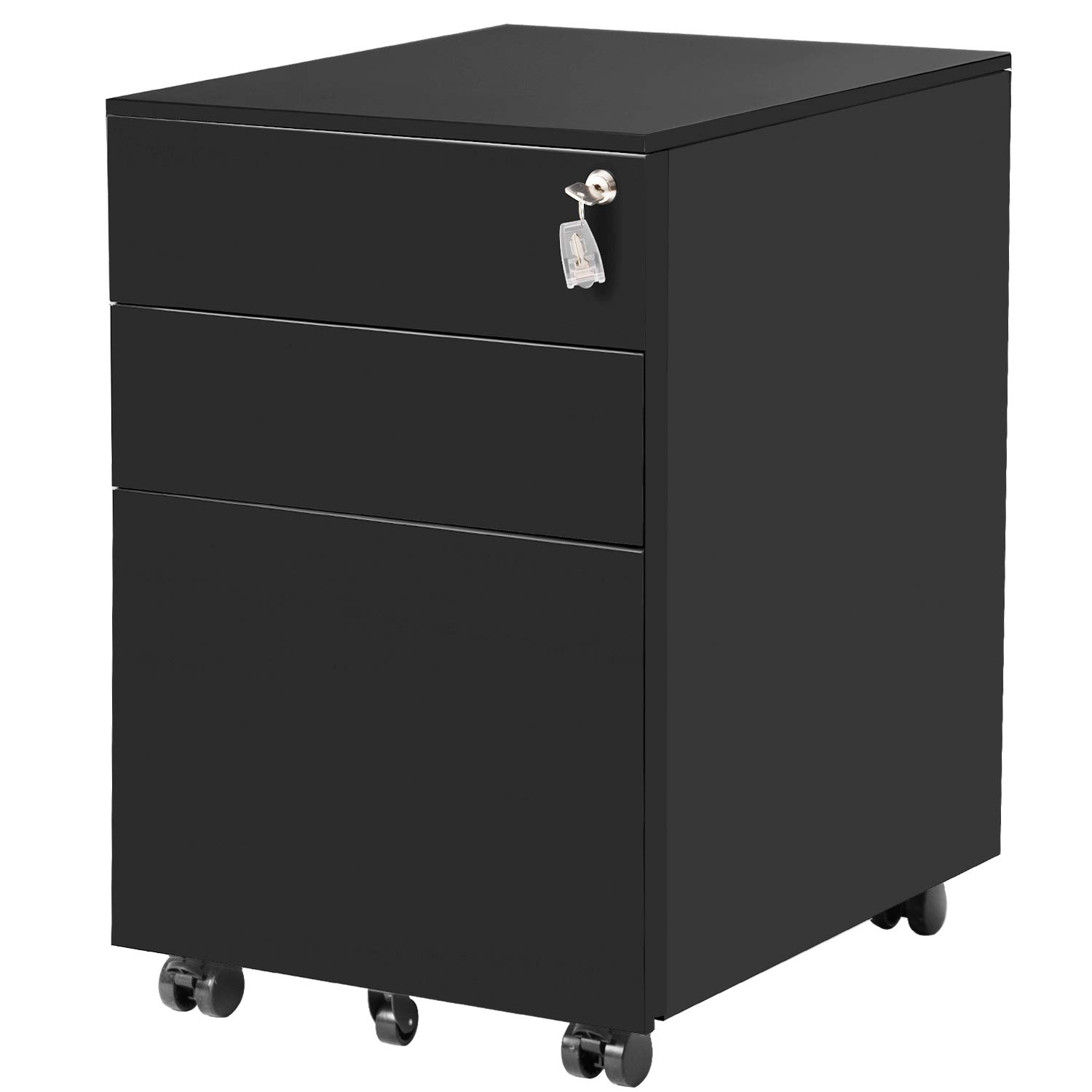 ModernLuxe File Cabinet 3 Drawer Metal Mobile File Cabinet with Lock Fully-Assembled Except Casters (Black) by ModernLuxe (Image #1)