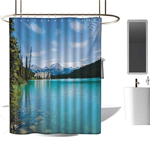 Stevenhome Landscape Shower Curtains Waterproof Historical Ancient Castle by The Crystal Color Lake Canadian Rurals Art Satin Fabric Sets Bathroom Turquoise Green