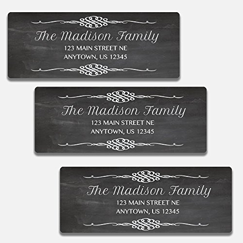 60 Personalized Chalkboard Themed Return Address Labels (AL8) (Customized Return Address Labels)