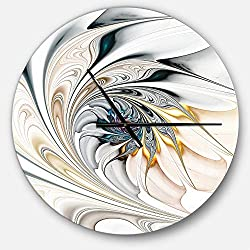 Designart White Stained Glass Floral Oversized Modern Metal Clock, Circle Wall Decoration Art, 23x23 Inches