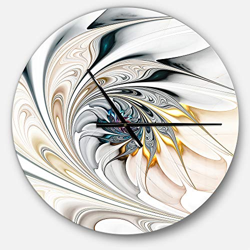 Designart White Stained Glass Floral Oversized Modern Metal Clock, Circle Wall Decoration Art, 23x23 -
