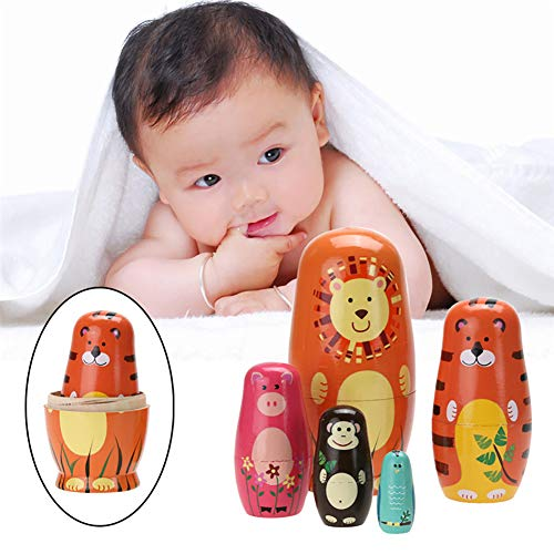 YUSHho56T Dolls & Stuffed Toys Child Toys 5Pcs Cute Wooden Cartoon Animal Russian Nesting Dolls Toys Kids Gift Home DecorCartoon Animal Pattern,Kids Gift,Home Decor (Nesting Doll Piggy Bank)