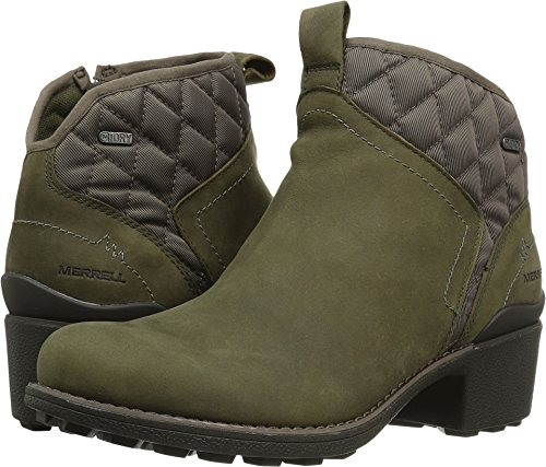 Green Merrell - Merrell Women's Chateau Mid Pull Waterproof Snow Boot, Dusty Olive, 7.5 M US