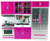 My Modern Kitchen Oven Sink Refrigerator Battery Operated Toy Doll Kitchen Playset w Lights - Sounds - Perfect for Use with 11-12