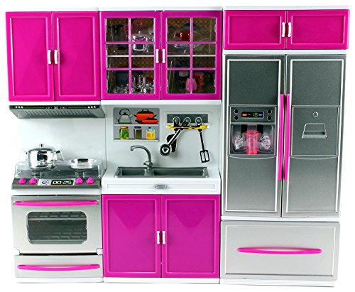 My Modern Kitchen Oven Sink Refrigerator Battery Operated Toy Doll Kitchen Playset w/ Lights, Sounds, Perfect for Use with 11-12