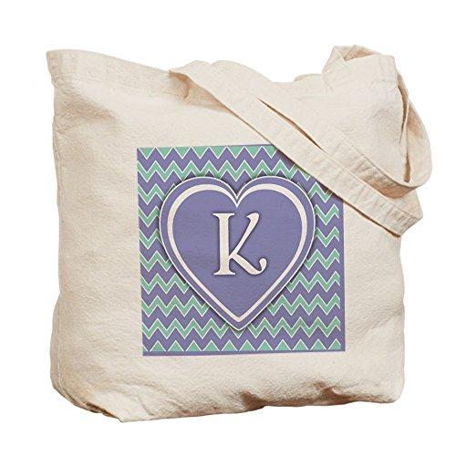 CafePress–Letra K, color violeta y verde Chevron bolso–Gamuza de bolsa de lona bolsa, bolsa de la compra