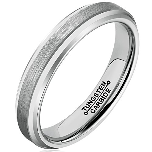 MNH Tungsten Carbide Rings Men Wedding Band 4mm Comfort Fit Matte Finish (4mm Comfort Fit Ring Band)
