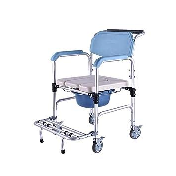 YXMxxm Silla Tipo Inodoro para Inodoro con Ruedas, 350 LBS de Servicio Pesado, Silla de baño para Personas Mayores con discapacidad y Mujeres Embarazadas: ...