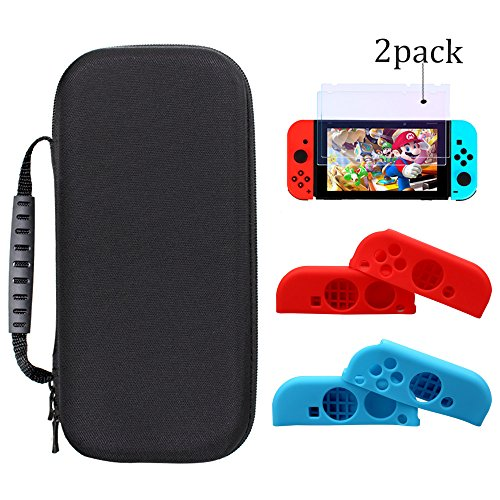 5 in 1 Nintendo Switch Case, Delux EVA Hard Carry Case Built in 20 Game Cartridge + 2 Set Joy-Con Silicone Protector Cover + 2pack Tempered Glass Screen Protector for Switch Console & Accessories