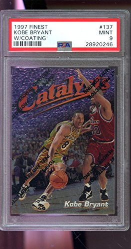 Kobe Bryant Autographs - 1997-98 Topps Finest 137 Kobe Bryant Catalysts MINT PSA 9 Graded Basketball Card