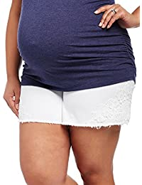 Motherhood Plus Size Secret Fit Belly Crochet Detail Maternity Shorts