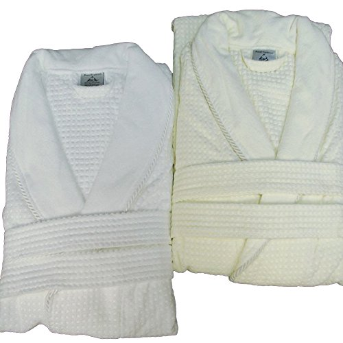 - Waffle Weave Bath Robe with Jacquard Velour Shawl Collar, 100% Cotton, Off-White