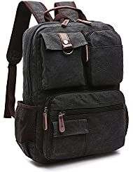Yousu Mens Canvas Backpack School Backpack Travel Daypack fits 14 Laptop
