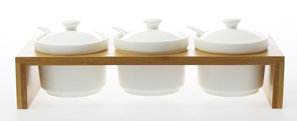 JustNile Ceramic Spice Jar Set - 3 Pcs Ball White and Wood Base Lid by JustNile Chanchen
