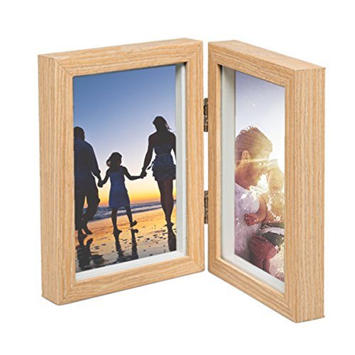 CECIINION Wood Photo Frame, Hinged Double Picture Frames, With Glass Front, Fit For Stands Vertically on Desk Table Top (For 4x6in photo,Light Wood - Glasses Cat Ebay Eye